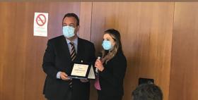Il Rettore Gavino Mariotti alla premiazione del premio Gianni Massa 2021