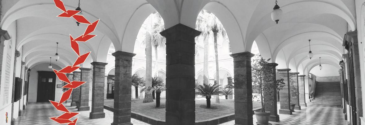chiosco università centrale degli studi di sassari con palme e scalinata